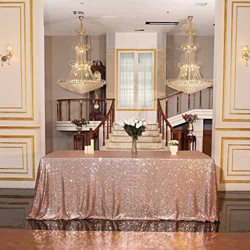 Eternal Beauty Pailletten Tischdecken für Hochzeit Halloween Chrismas Party Bankett, Textil, Rose Gold, 127 * 183cm