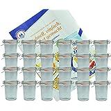 24er Set Weck Gläser 160 ml Sturzgläser mit 24 Glasdeckeln, 24 Einkochringen und 48 Klammern incl. Diamant-Zucker Gelierzauber Rezeptheft