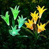Lot de 2extérieur décoratif solaire Lily Lampes LED, pour le jardin cour Patio Allée, Blanc + Jaune
