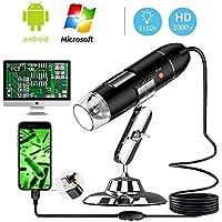 Ksera Microscopio USB, 40X a 1000X Endoscopio de Aumento Digital, 8 LED con 3 en 1 USB 2.0 Mini Microscopio Cámara, Compatible con Mac Windows 7 8 10 Android Smartphone