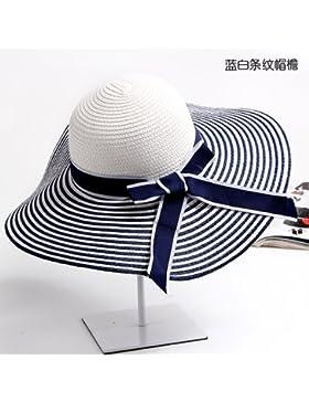 Sombreros Sombreros de Playa Sol tapas plegables rayas grandes aleros quitasol vacaciones mar lady,azul