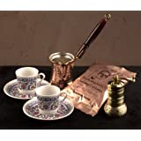 The Turkish Emporium conjunto café turco Espresso para 2, cobre, hecho main-peint a la mano