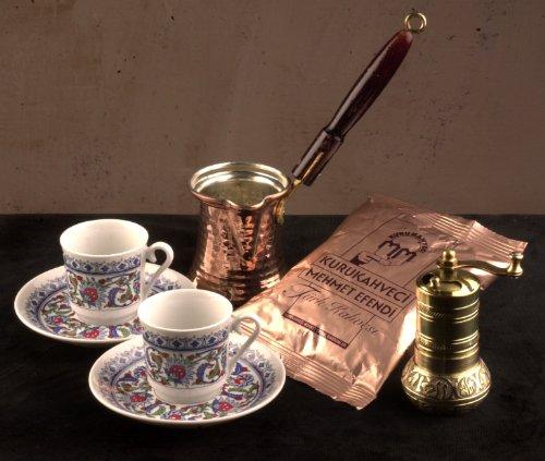 The Turkish Emporium Türkisch Kaffee Geschenk Set: Tasse Untertasse X 2Grinder Mokkakanne/und Stück Qualität Kaffee