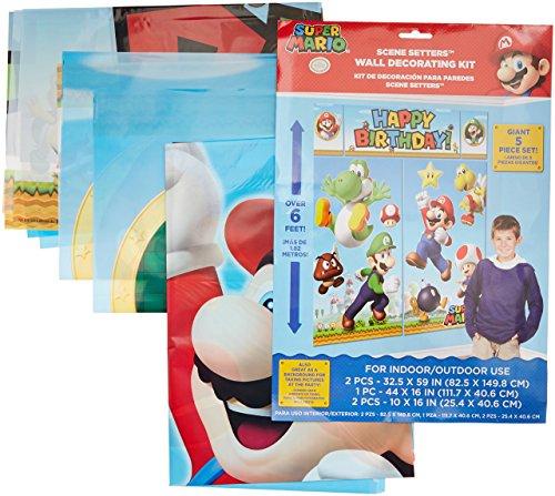 Amscan–670508Kit de decoración de fondo de Super Mario