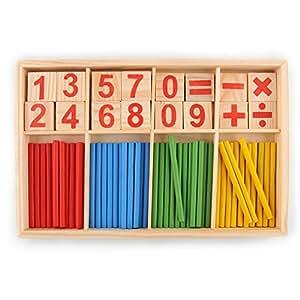 hibote 52 Spindles Holz-Zahl-Karten und Counting Rods mit Box, Montessori-Material-Sticks Mathematik-Material Ausbildung f¨¹r Kind-Kind