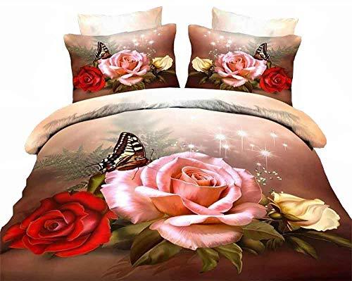 ZQYY 3D Bettbezug, Rose Serie, Mikrofaser, Luxuriös Bettwäsche-Set von 4, Einschließlich:Bettbezug200*230cm*1, Kissenbezug 48 * 74cm*2, Bettlaken250*250cm*1