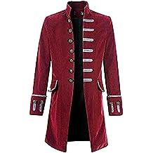 Dihope Homme Rétro Blazer Queue-de-Pie Steampunk Gothique Veste de Costume  Jacket Outwear 5cf5306cc48