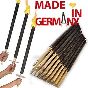OutdoorBÄR – 50 Stück hochwertige Wachsfackeln mit Handschutzteller | Brenndauer 90 min – Made in Germany – Pechfackeln