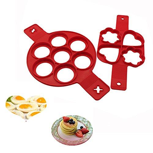 Anillo de silicona antiadherente Gabbrein para hacer tortitas y huevos, moldes redondos y con forma de corazón, silicona, 2 unidades