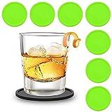 Zedtom 8-Stück Silikonuntersetzer Runde Untersetzer Silikon Untersetzer Glas, Tasse Untersetzer Set für Familie, Bar, Wohnzimmer, Küche-5 Farbe(Grün)
