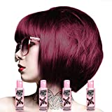 4 x Crazy Color Semi Permanent Hair Colour Dyes by Renbow 100ml Burgundy 61