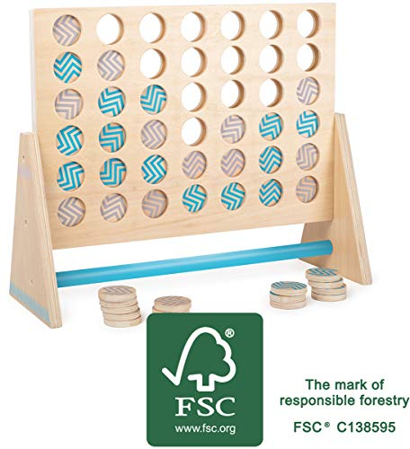 Small Foot 12031 Vier in Einer Reihe XXL Active, aus Holz, FSC 100%-Zertifiziert, Spielklassiker in riesig Spielzeug, Mehrfarbig