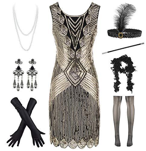 Damen 1920er Jahre Pailletten Perlen Quasten Saum Flaper Kleid mit 20er Haarband Zubehör Set - - - Roaring 20's Übergröße Flapper Kostüm