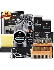 GoldWorld Kit Complet de Barbe d'Homme avec Gratuit Savon à la Barbe,Huile de Barbe,Brosse à Barbe,Peigne à Barbe,Baume de Barbe,Ciseaux à Barbe,la Barbe se Développe Produit Coffret