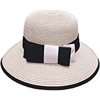 Gespout Casual Bow Hat Collapsible Outdoor Travel Sun Hat Summer England Elegant Dome Hat size 56-58CM (Light pink)
