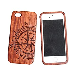 iPhone 5C 5s Wooden Phone Case iphone 5se Carved Wooden Case iphone 4s All Solid Wood case (iphone5/5s, Big compass)