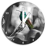 Colibri dans son habitat naturel B & W en détail, carré diamètre horloge murale de 30 cm avec des mains blanches et le visage, des objets de décoration, Designuhr, composite aluminium très agréable pour salon, bureau