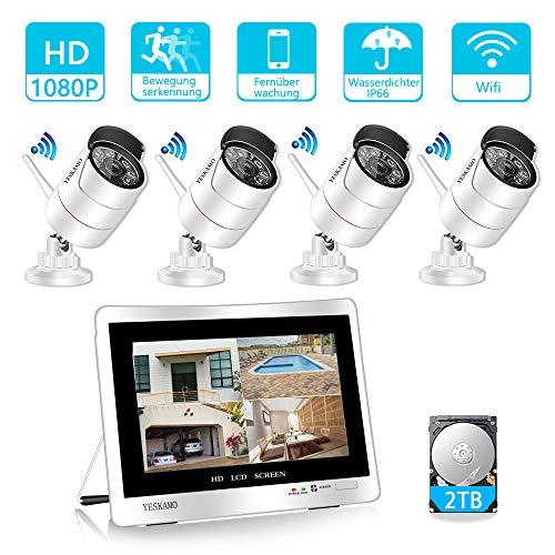 YESKAMO Funk Überwachungskamera Set Aussen WLAN mit 8CH 1080P 12 Zoll IPS Monitor und 4pcs 2.0MP Outdoor WiFi Kameras 2TB Festplatte für die Aufnahme von H.265 Hausalarmanlagen mit Bewegungserkennung - 1080p Computer-monitor