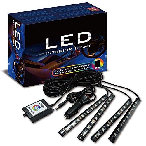 Preisvergleich Produktbild Autostyle 0135L0000 Selbstklebende Innenraum LED-Strips mit Smartphone Steuerung-Multi-Farben-Satz à 4 Stück