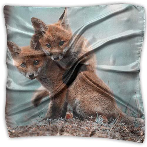 Pizeok Hug Animal Print 100% Silk, Silk Scarf Square, Small Handkerchief, Bandana Classic Square Scarf Small -