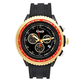 D&G Dolce&Gabbana DW0369 – Reloj cronógrafo de caballero de cuarzo con correa de goma negra (cronómetro) – sumergible a 30 metros