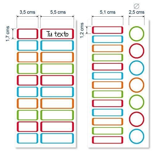ETIKIDS 40 Etiquetas adhesivas laminadas personalizables (color) para objetos excepto ropa para la guardería y el colegio.
