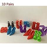 Des Mall 10 Paar Verschiedene High Heel Schuhe Stiefel Hausschuhe Zubehör für Barbie-Puppe Kleine Mädchen Geschenk von TheBigThumb