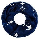 zeitloser Damen Schlauchschal mit Anker Anchor Loop-Schal Rundschal Tube Infinity Scarf Autiga® navy