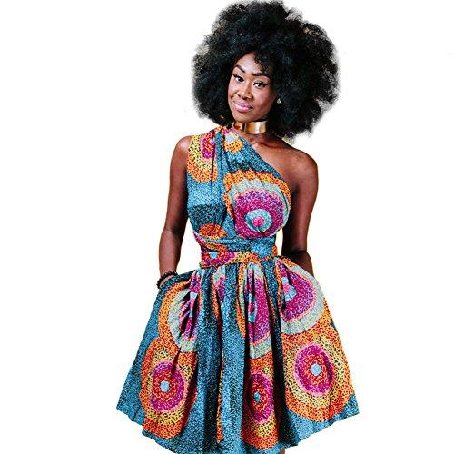 Damen Frauen Afrikanisches Kleid Ethnischer Stil Multi-tragen Jahrgang Abendkleid Multiway Kurzes Kleider Elegantes Sommer Verbandkleid Strandkleid Cocktailkleid Partykleid Mehrfarbig 38 (Wrap-stil Röcke Kleid)