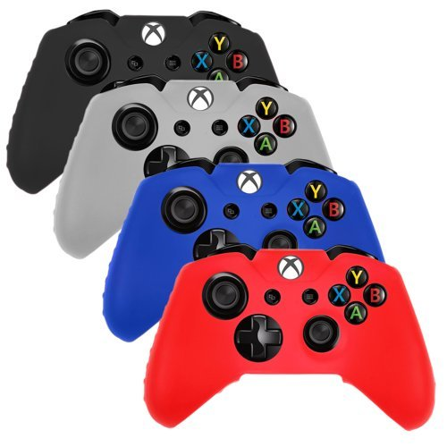 4 Pack Soft Silicone Gel Rubber Grip Controller Protecting Cover For Xbox One – Black/Red/Blue/White 51cbyg7KWFL