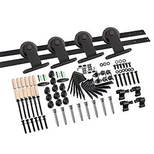 CCJH 9FT-275cm Quincaillerie Kit de Rail Roulette pour Porte Coulissante Ensemble Industriel Hardware kit pour Une Porte Suspendue en Bois