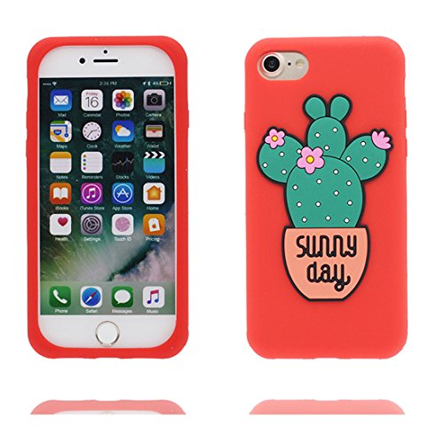 "Hülle iPhone 7 Cover 3D Cartoon Kaktus Blume, TPU Flexible Durable Shock Dust Resistant iPhone 7 Handyhülle 4.7"", iPhone 7 case 4.7"" # 2"