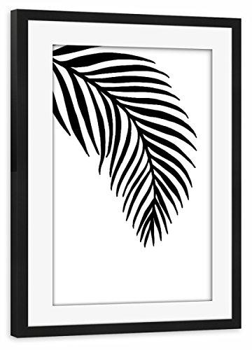 artboxONE Poster mit Rahmen Schwarz 30x20 cm Palm Leaves White - Motif Two von Planeta444 - gerahmtes Poster (Palm Leaf White)