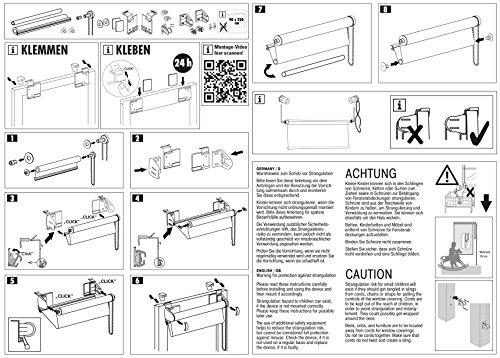 GARDINIA Doppelrollo zum Klemmen oder Kleben, Duo-Rollo/ Seitenzugrollo, Transparente und blickdichte Streifen, Alle Montage-Teile inklusive, Weiß, 120 x 150 cm (BxH) - 11