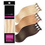 ELEGANCE-HAIR® Bonding Extensions 20x 1g Echthaar-Strähnen Keratin Haarverlängerung 40cm Glatt #P18/60 - Champagne Mix Blonde - Champagner-Blond Gesträhnt