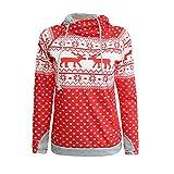 YWLINK Weihnachten Rudolf Punkte Drucken Sweatshirt Frauen ReißVerschluss Oberteile Mit Kapuze Pullover Bluse Pulli Pullover Rollkrage T Shirt