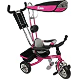 Kiddo Pink Smart New Design 4-in-1 Childrens Tricycle Kids Trike 3 Wheel Bike Parent Toddler Trike New - Pink