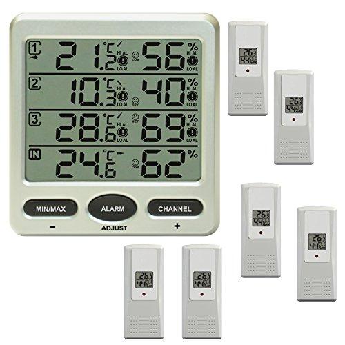 froggit Funk Thermometer FT0073 mit 6 Funksensoren Luftfeuchte LCD Display Min/max