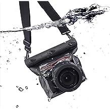 Meiwo 20m Cámara Submarina Impermeable Universal Vivienda Caso Bolsa de la Cámara Impermeable Diseñado Para Actividades al aire Libre / Subacuáticas, Compatible para Canon / Nikon / Fuji / Pentax / Samsung / SONY / Panasonic Y Otras Marcas (negro)