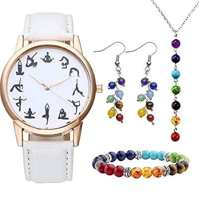 JSDDE Uhren-Set Schwarz Yoga Muster Armbanduhr + 7 Chakra Armband Anh?nger Halskette Ohrringe Reiki Healing Schmuck-Set #2 Weiss