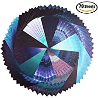 carta da origami, 70 fogli Belle stelle di cielo pieghevole pacchetto di carta per gru pieghevole, rosa, fiori, aeroplani, cuori, arti per bambini e artigianato fai da te, carta di artigianato di decorazione - 6 pollici foglio quadrato