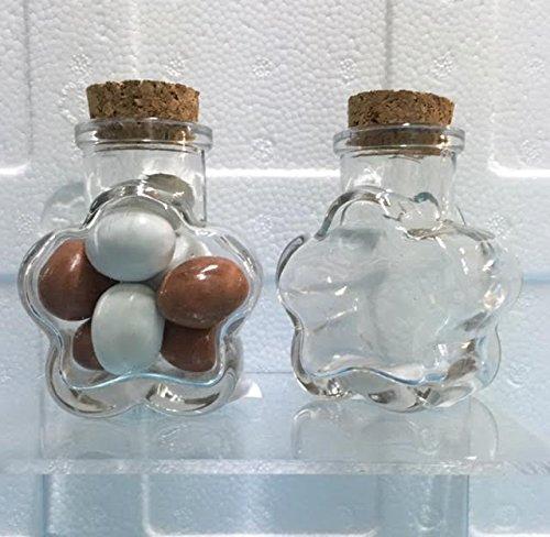 Subito disponibile stock 12 pezzi barattolo vetro a forma di fiore portaconfetti porta confetti tappo in sughero