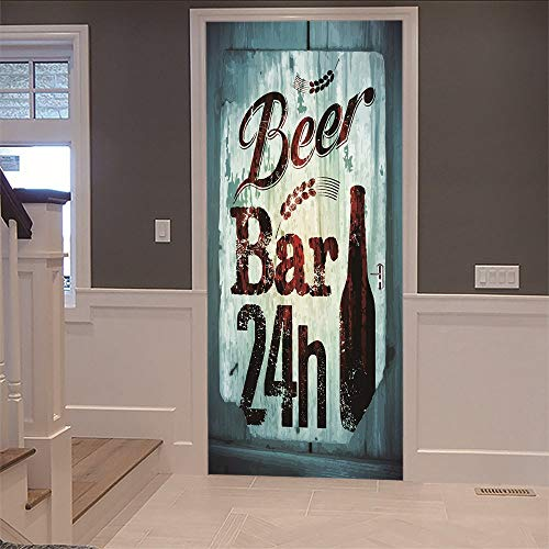3D Aufkleber Tür Bier Bar Dekoration Tapete Für Kinder Wohnzimmer Schlafzimmer Aufkleber Diy Wandbild (77X200 Cm) Weihnachtsgeschenk