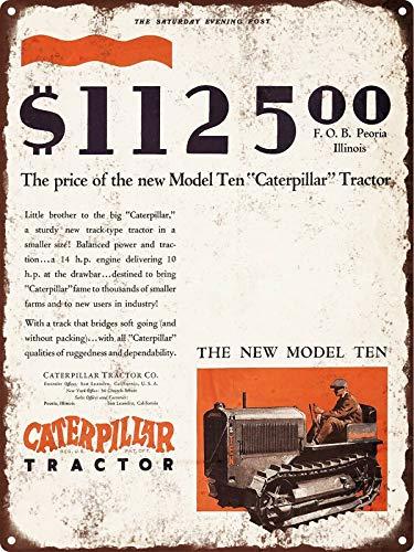 Rebecca Simpson 1929 Caterpillar Tractor New Model Ten 10 Track Man Cave Metal Sign 9x12 New Mens Caterpillar