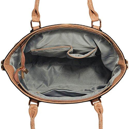 Handtaschen für Frauen-Tragetasche (Nude) Designertaschen Schultergurt Kunstleder stilvollen Damen-Pelz-Tasche A - Nude
