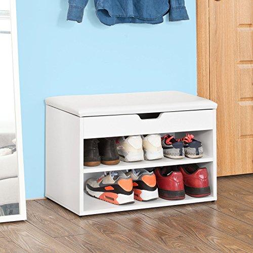 SoBuy Armario zapatero, Taburete, puff caja, banco, estantería para zapatos ,Chifonier, blanco, FSR25-W