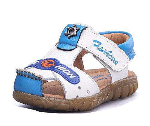 Ohmais Enfants Chaussure bebe garcon premier pas Chaussure premier pas bébé sandale en cuir souple blanc bleu