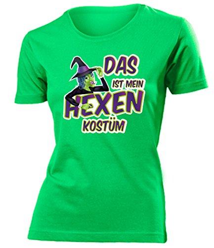 Hexenkostüm Hexen Kostüm Kleidung 4497 Damen T-Shirt Frauen Karneval Fasching Faschingskostüm Karnevalskostüm Paarkostüm Gruppenkostüm Grün L