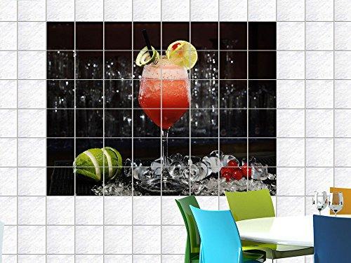 Fliesenaufkleber Fliesenbild Cocktail Kirschen und Limetten für Ihre Küche (Fliesenmaß:15x15cm(BxH)//Bildformat:90x60cm(BxH))