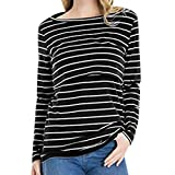 Voberry Womens Nursing Stripe Long Sleeve Round Neck Breastfeeding Blouse